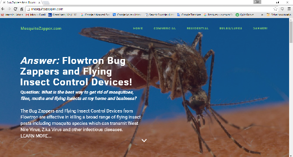 MosquitoZapper.com online sales of Flowtron bug zappers and other flying insect control devices and accessories since 1998!