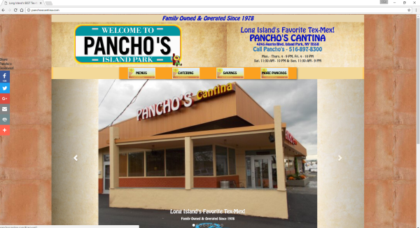 Website link for Pancho's Cantina in Island Park